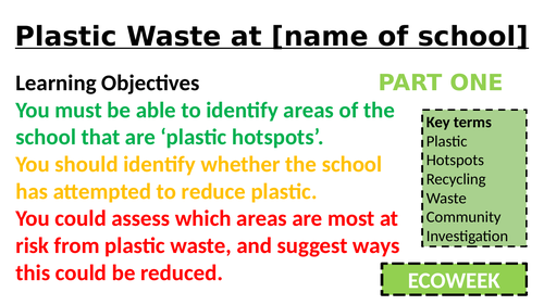 Plastic Waste Invesitgation around YOUR School