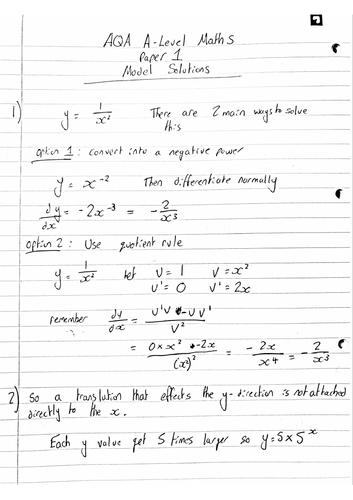 NEW AQA A-LEVEL MATHS PAPER 1 2018 MODEL SOLUTIONS