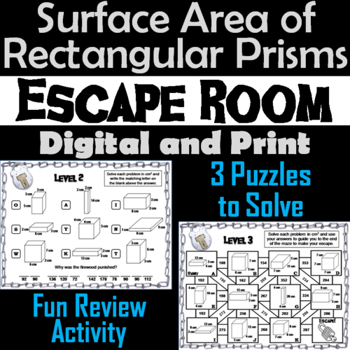 Surface Area of Rectangular Prisms Activity: Math Escape Room Geometry