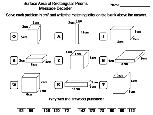 Surface Area of Rectangular Prisms Activity: Math Message Decoder