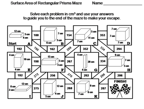Surface Area of Rectangular Prisms Activity: Math Maze