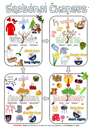Year 1 Science Poster - Seasonal changes | Teaching Resources