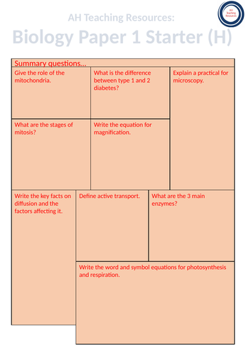 GCSE Biology Paper 1 Starter Sheet