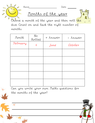 Months of the year worksheets for Mixed abilities