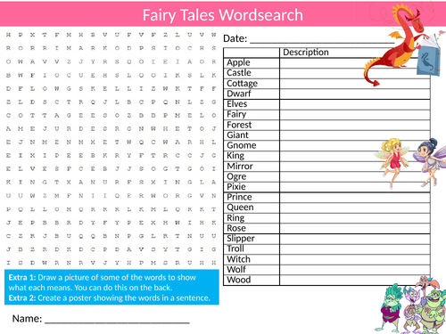 3 x Fairy Tales Wordsearch Sheet Starter Activity Keywords Cover Homework Myths and Legends