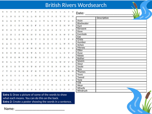 British Rivers Wordsearch Sheet Starter Activity Keywords Cover Homework Geography