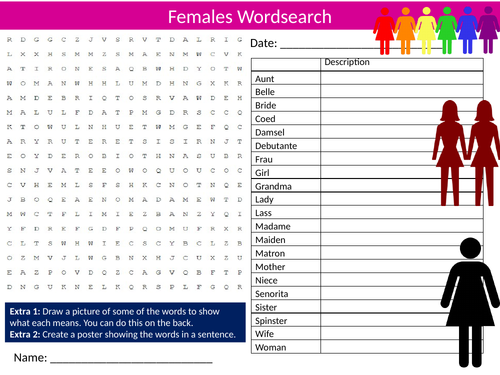 Females Wordsearch Sheet Starter Activity Keywords Cover Homework Women's Day