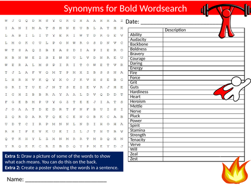 Synonyms for Bold Wordsearch Sheet Starter Activity Keywords Cover Homework English Language