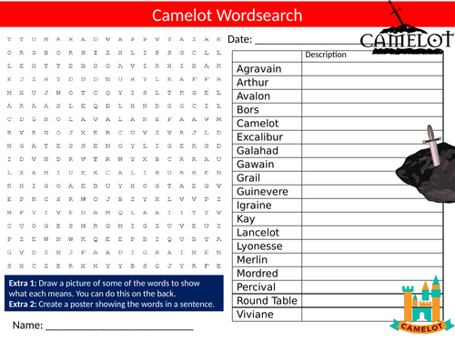 Camelot Wordsearch Sheet Starter Activity Keywords Cover Homework Myths and Legends King Arthur