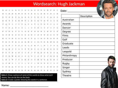 Hugh Jackman Wordsearch Sheet Starter Activity Keywords Cover Homework Actor Drama Celebrity