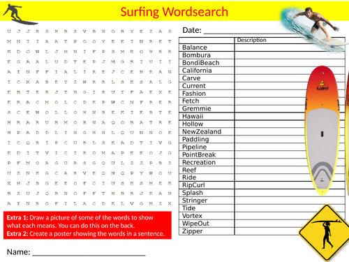 Surfing Wordsearch Sheet Starter Activity Keywords Cover Homework Water Sports Physical Education
