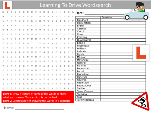Learning to Drive Wordsearch Sheet Starter Activity Keywords Cover Homework Driving