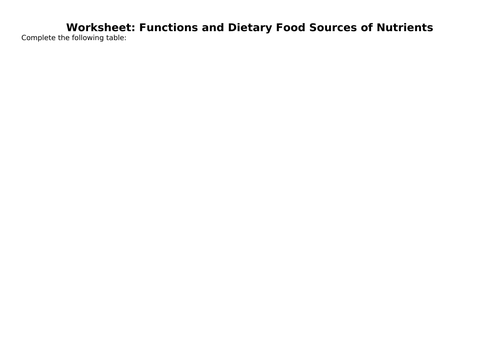 Macronutrients & micronutrients (worksheet)