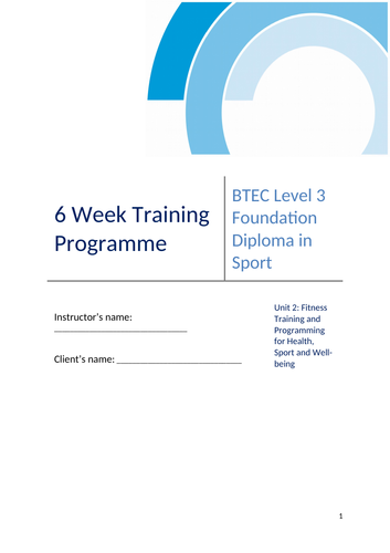 Fitness training programme (logbook)