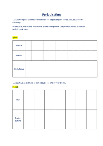 Periodisation (worksheet)