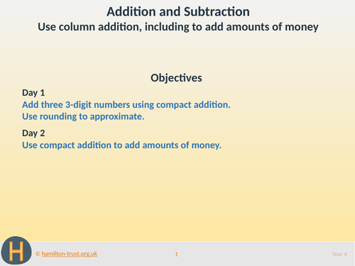 Column addition, including money - Teaching Presentation - Year 4