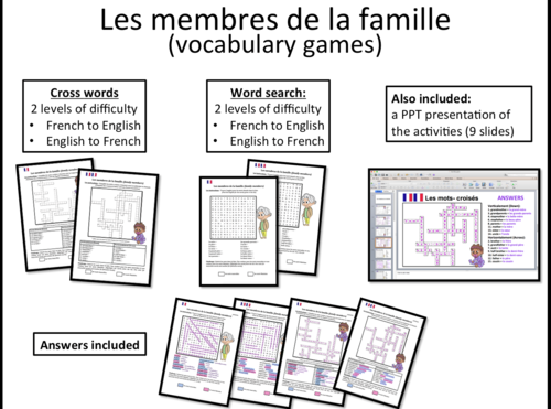 La famille/ family- Crosswords and Word search- French