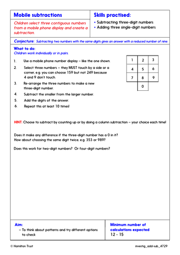 Expanded & compact column subtraction - Problem-Solving Investigations - Year 4