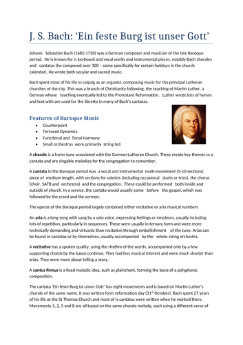 A Level Music: Bach Cantata Notes & Wider Listening