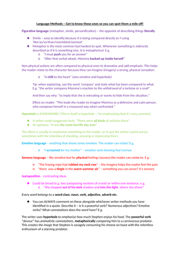 Language Methods Defined With Examples (GCSE English