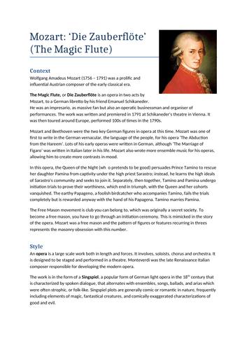 A Level Music: Mozart Opera Notes & Wider Listening
