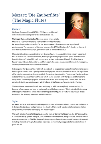 A Level Music: Mozart Opera Notes & Wider Listening