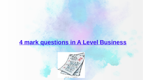 A Level Business Sample 4 mark Questions