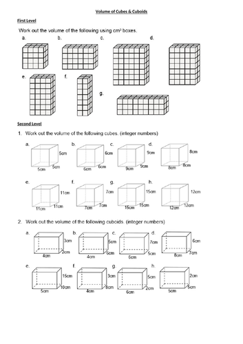 VOLUME of cubes and cuboids - GEOMETRY - WITH ANSWERS