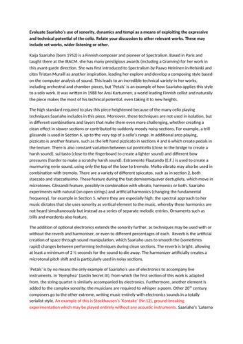 Edexcel A Level Music Model Essay: Kaija Saariaho 'Petals'