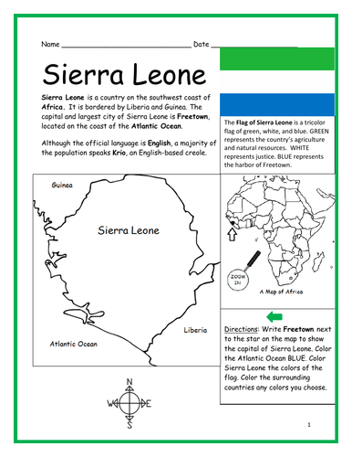 Sierra Leone - Printable handout with map and flag
