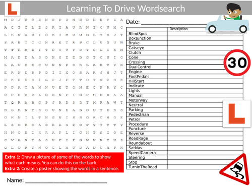 3 x Learning to Drive Wordsearch Sheet Starter Activity Keywords Cover Homework Driving