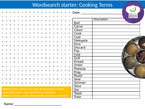 3 x Cooking Terms Wordsearch Sheet Starter Activity Keywords Cover Homework Food Technology