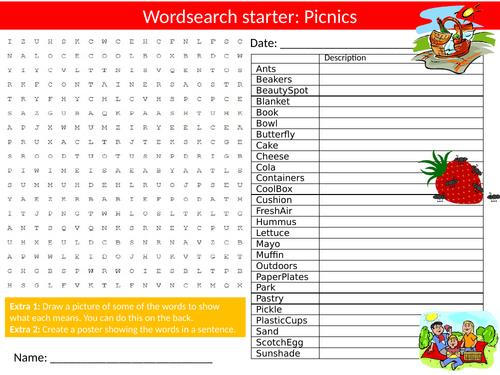 Picnics Wordsearch Sheet Starter Activity Keywords Cover Homework Food Technology