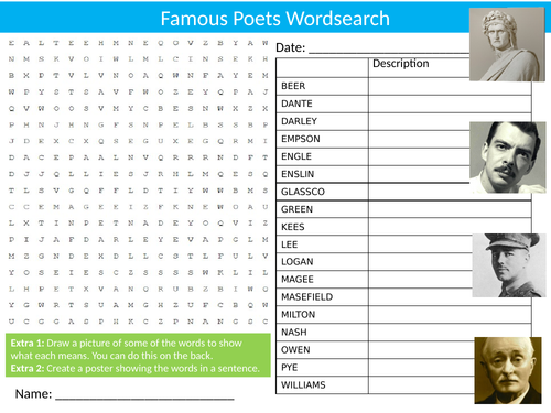 4 x Famous Poets Wordsearch Sheet Starter Activity Keywords Cover Homework English Poetry