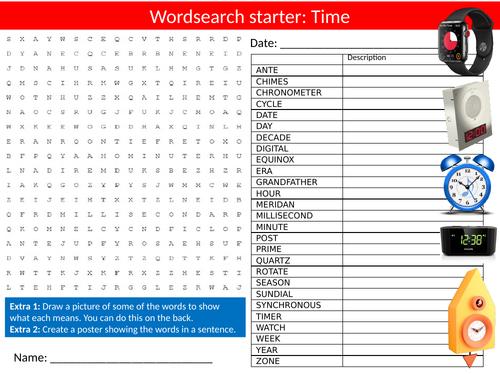 Time Wordsearch Sheet Starter Activity Keywords Cover Homework Telling The Time Clocks