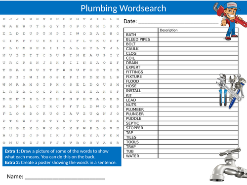 Plumbing Wordsearch Sheet Starter Activity Keywords Cover Homework Careers Plumbers