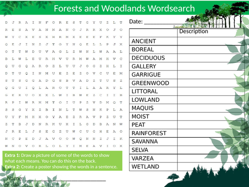 Forests and Woods Wordsearch Sheet Starter Activity Keywords Cover Homework Geography Woodlands