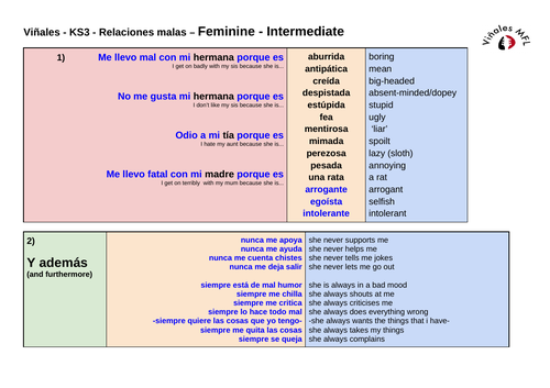 KS3---Vinales-Spanish---Relationships (INTERMEDIATE)---NEGATIVE---Masc/Fem