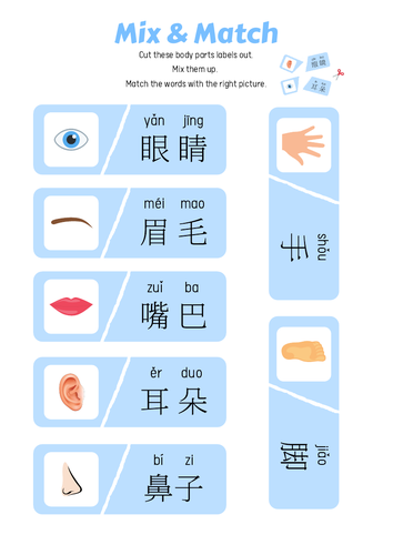 Body Parts Printables - Chinese Worksheets