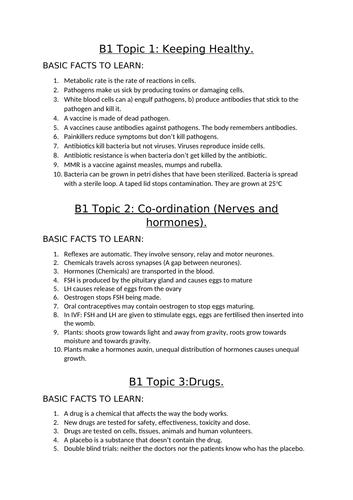 AQA Biology topics B1 and B2 basic fact sheets, B1, B2 and B3 detailed fact sheets