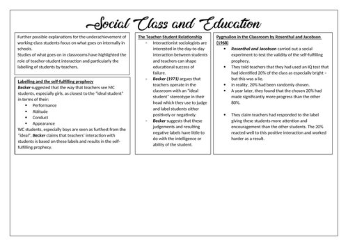 Social Class and Education Revision Posters