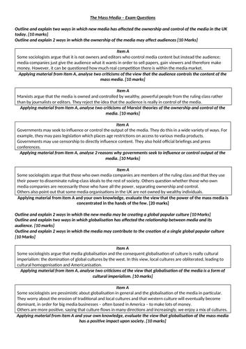 Mass Media Exam Questions