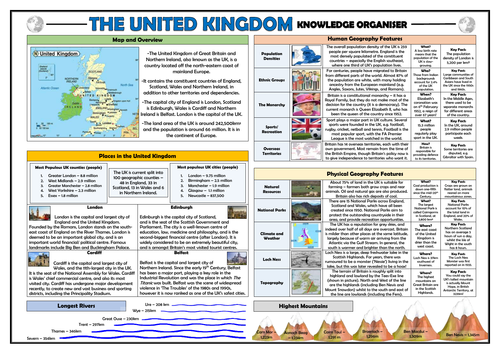 Locational Knowledge - United Kingdom - Knowledge Organiser!