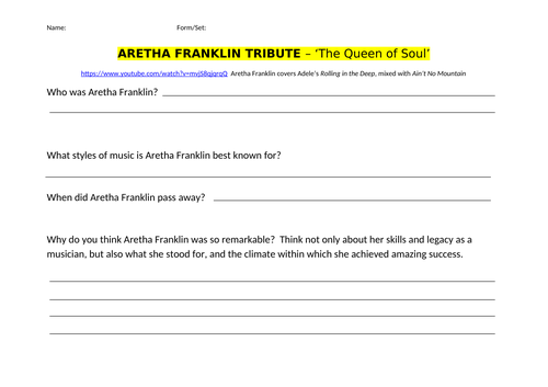 Aretha Franklin Tribute&Music for Occasions Listening
