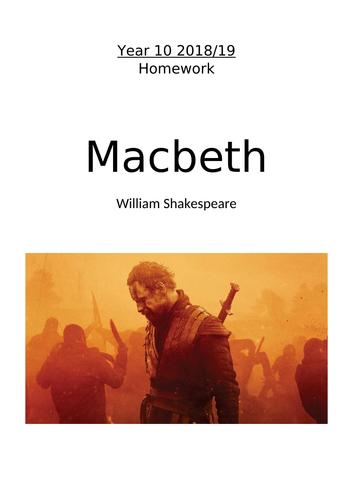 Homework booklet for Macbeth (Eduqas)