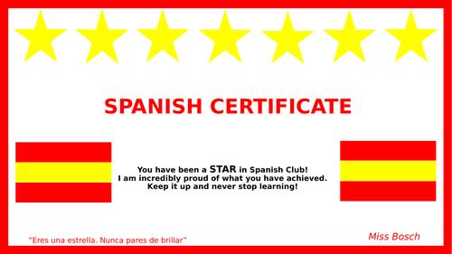 Spanish Club Certificates