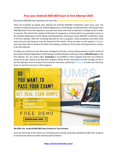 100% Passing Guarantee With Android AND-803 Exam Preparation Material