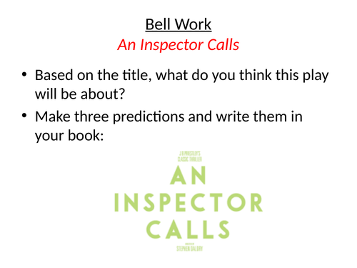 New AQA An Inspector Calls Lesson 3 Stage Directions and Setting