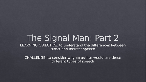 The Signal Man SoW & Resources