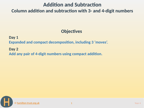 Column add/subt with 3- & 4-digit numbers - Teaching Presentation - Year 4